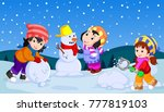 in the winter  kids play in the ...   Shutterstock .eps vector #777819103