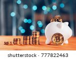 bitcoin saving and investment... | Shutterstock . vector #777822463