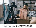 smiling fashion blogger... | Shutterstock . vector #777837247