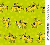 cute kid style dog pat seamless ... | Shutterstock .eps vector #777844777