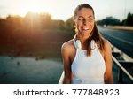 beautiful woman running over...   Shutterstock . vector #777848923
