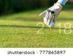 golfer asian woman putting golf ... | Shutterstock . vector #777865897