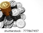 big pile of bitcoin and smaller ... | Shutterstock . vector #777867457