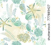 seamless pattern with seashells ... | Shutterstock .eps vector #777885427