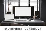 workspace mockup on dark... | Shutterstock . vector #777885727