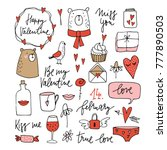 set of cute valentines doodle... | Shutterstock .eps vector #777890503