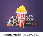 cinema concept. popcorn  open... | Shutterstock .eps vector #777892447