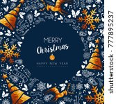 merry christmas greeting card... | Shutterstock .eps vector #777895237
