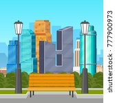 park bench and streetlamps with ... | Shutterstock .eps vector #777900973