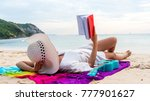 the asian girl reads alone at... | Shutterstock . vector #777901627