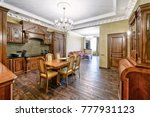 the kitchen is solid wood in a...   Shutterstock . vector #777931123