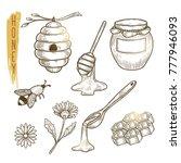 set of honey elements. vector... | Shutterstock .eps vector #777946093