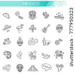 mexican culture icons set. day... | Shutterstock .eps vector #777950323