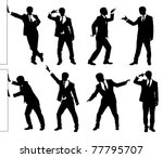 Set of silhouettes of a funny businessman. - stock vector