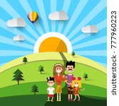family on field. vector flat... | Shutterstock .eps vector #777960223