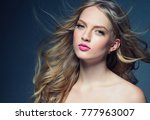 young blonde girl female with... | Shutterstock . vector #777963007