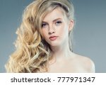 young nice blonde girl with... | Shutterstock . vector #777971347