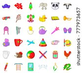 childcare icons set. cartoon... | Shutterstock .eps vector #777973657