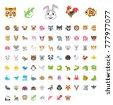 all animals emojis  emoticons... | Shutterstock .eps vector #777977077