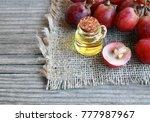 grape seed oil in a glass jar... | Shutterstock . vector #777987967