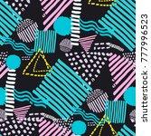 memphis seamless  pattern in... | Shutterstock .eps vector #777996523