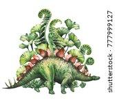 Watercolor Stegosaurus With...