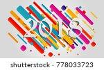 creative happy new year 2018... | Shutterstock .eps vector #778033723