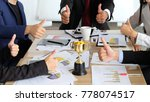 business team thump up their... | Shutterstock . vector #778074517