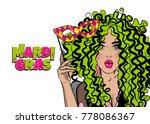 pop art woman girl wow face... | Shutterstock .eps vector #778086367