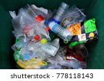 Small photo of Top view bin, Garbage many trash pile of waste plastic bag and bottle