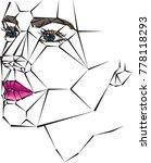 geometric woman face vector... | Shutterstock .eps vector #778118293