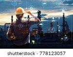 double exposure of engineer... | Shutterstock . vector #778123057
