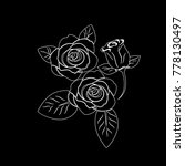 flowers roses  black and white. ... | Shutterstock .eps vector #778130497