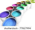paint cans on a white surface with assorted colored paints with realistic paint textures, also available on black surface - stock photo