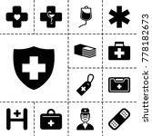 aid icons. set of 13 editable... | Shutterstock .eps vector #778182673