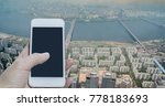 woman hand using blank screen... | Shutterstock . vector #778183693