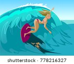 young surf girl with surfboard... | Shutterstock .eps vector #778216327