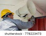 a male technician is doing... | Shutterstock . vector #778223473
