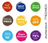 colorful sale tags in grunge... | Shutterstock . vector #778224823