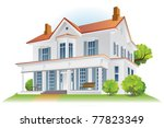 house with bushes  tree and... | Shutterstock .eps vector #77823349