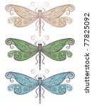 Three Vector Dragonflies With...