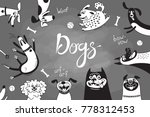 card with joyful dogs and happy ... | Shutterstock .eps vector #778312453