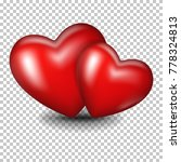 red realistic hearts  isolated. | Shutterstock .eps vector #778324813