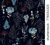 beautiful dark botanic pattern... | Shutterstock .eps vector #778331323