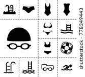 swim icons. set of 13 editable... | Shutterstock .eps vector #778349443