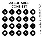 color icons. set of 20 editable ... | Shutterstock .eps vector #778351363