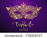 mardi gras carnaval golden mask ... | Shutterstock .eps vector #778353727