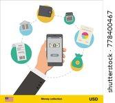 mobile banking concept. dollar... | Shutterstock .eps vector #778400467