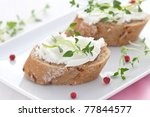 two canape with goat cheese - stock photo