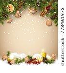 christmas template with fir... | Shutterstock .eps vector #778461973